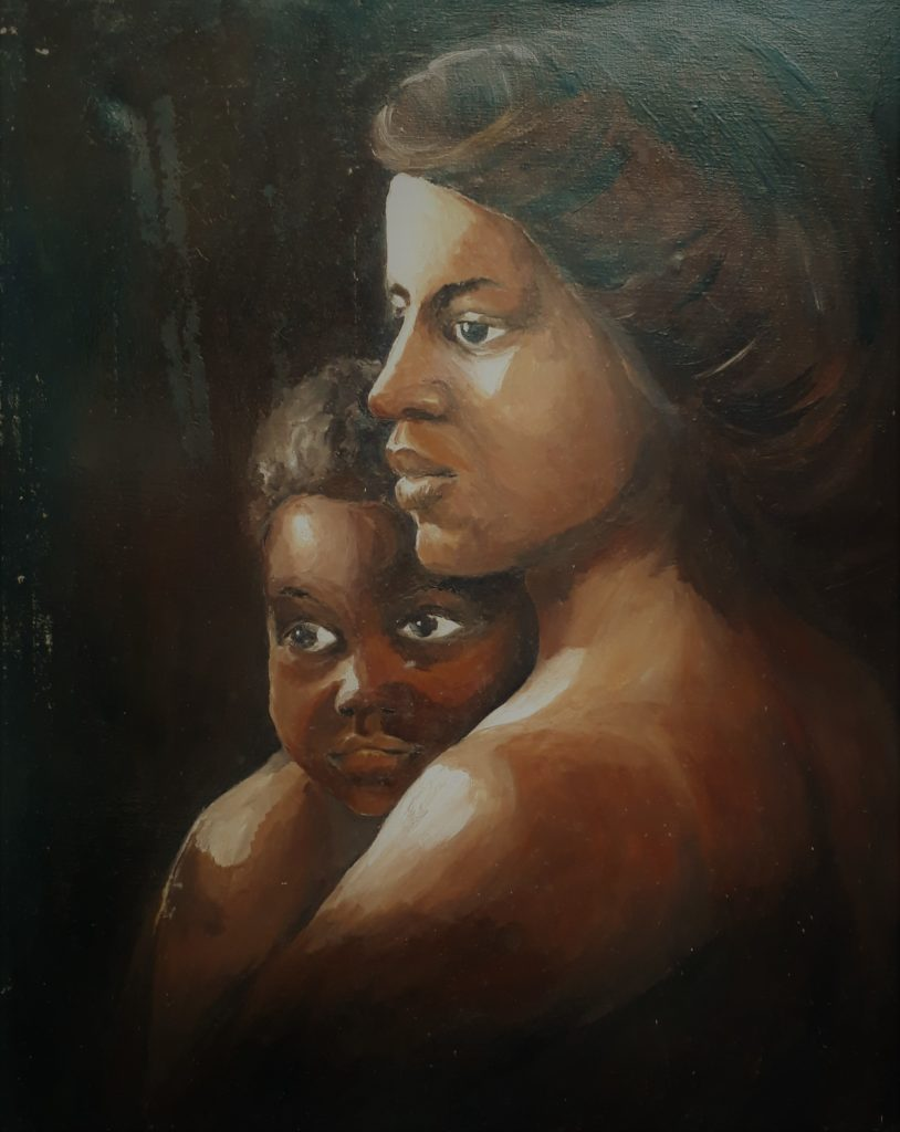 Olieverf - moeder en zoon