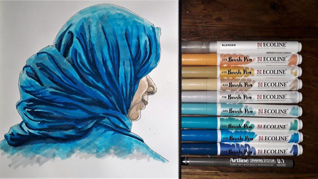 Brush pen gesluierde vrouw