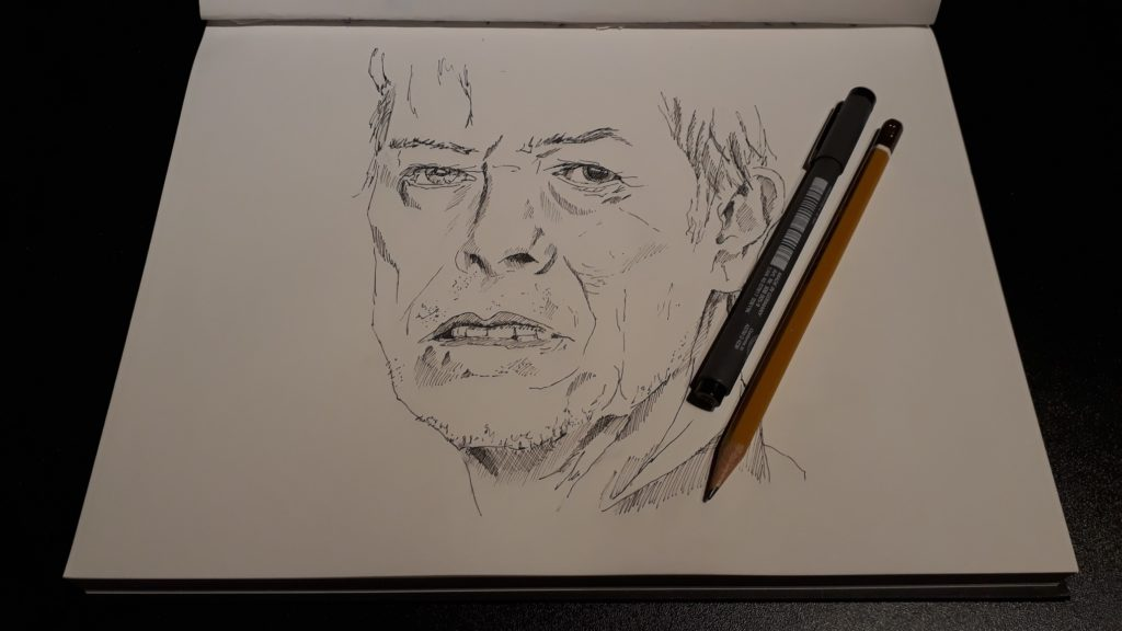 Pentekening David Bowie