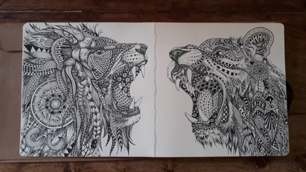 Zentangle leeuwen