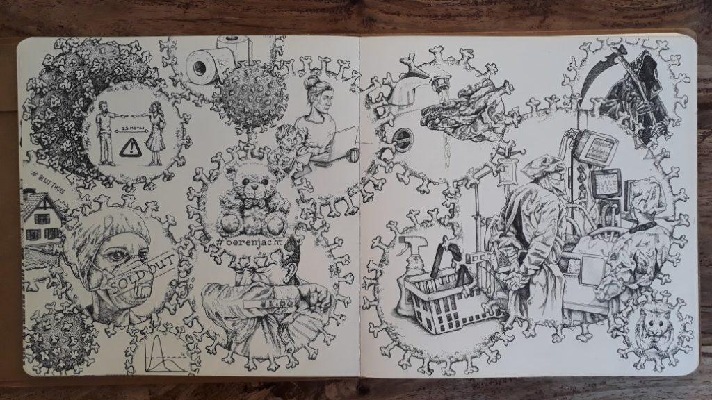 Corona-tekening in inkt.